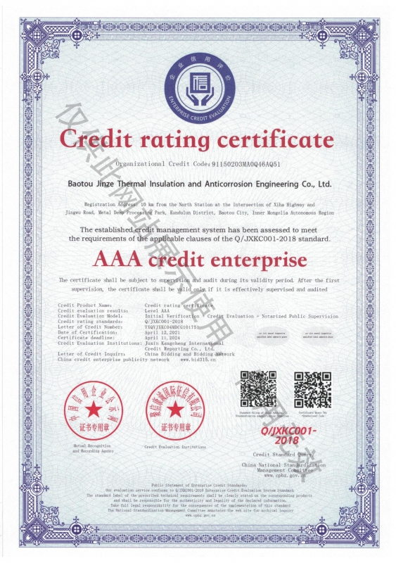 Gredit  rating  certificate