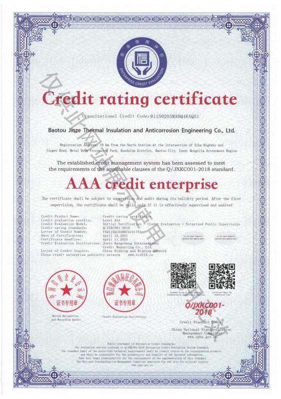 Gredit  rating  certificate